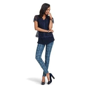 Cabi Blue Grid Tie Dye Print Skinny Jeans